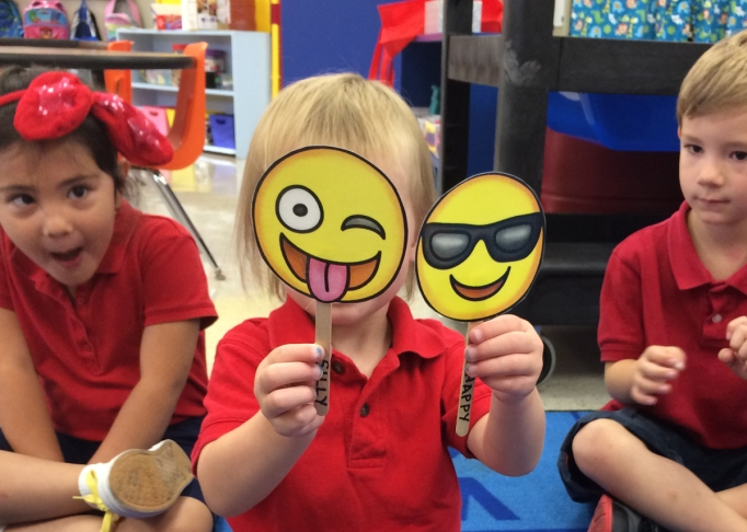 kids with emoji faces